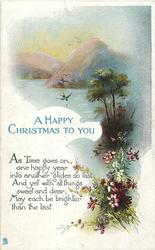 A HAPPY CHRISTMAS TO YOU  swallows, lake & mountain behind, flowers front below