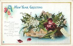 A NEW YEAR GREETING  basket of rose & lilies-of-the-valley
