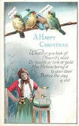 A HAPPY CHRISTMAS  girl, birds in cage &  4 above