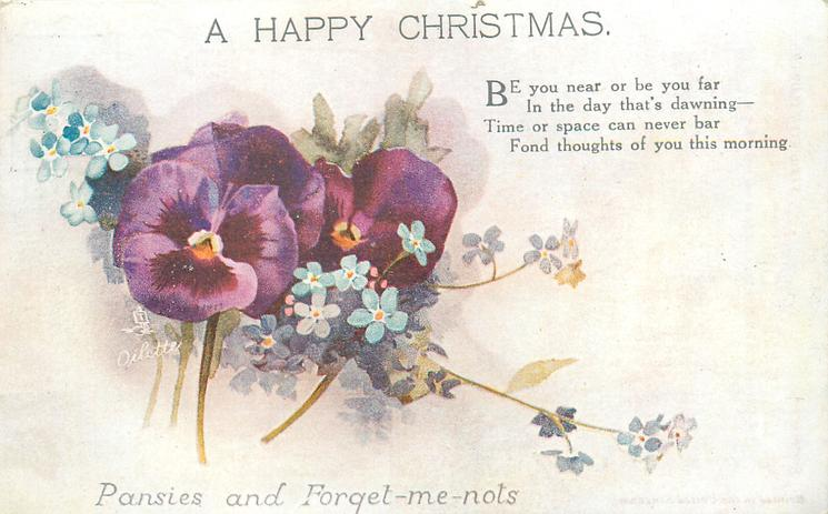 A HAPPY CHRISTMAS  pansies & forget-me-nots