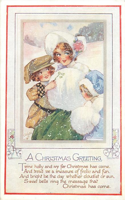 A CHRISTMAS GREETING  mother, boy & girl