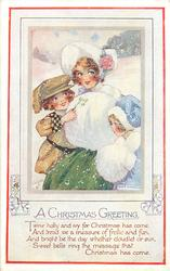 A CHRISTMAS GREETING  mother, boy & girl