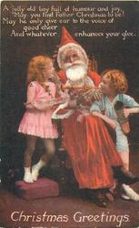 CHRISTMAS GREETINGS  seated Santa, boy & girl on each side, boy plays trumpet from right