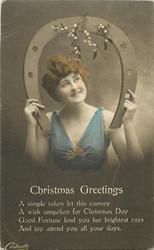 CHRISTMAS GREETINGS  girl looking up, horseshoe, mistletoe