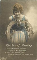 THE SEASON'S GREETINGS  girl looking front, horseshoe, mistletoe