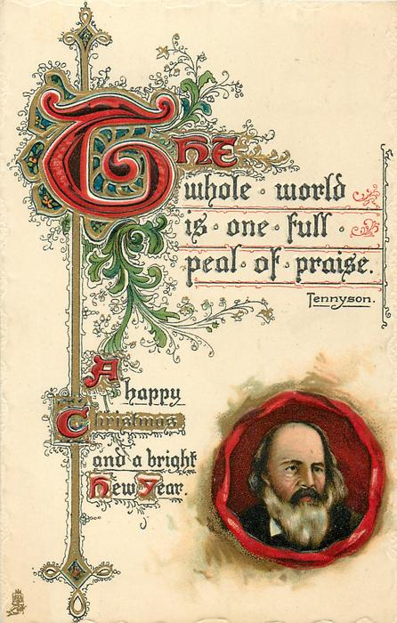 A HAPPY CHRISTMAS AND A BRIGHT NEW YEAR  Tennyson's head in seal