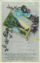 WITH EVERY GOOD WISH FOR CHRISTMAS  lake & boat with two people inset