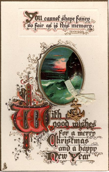 WITH ALL GOOD WISHES FOR A MERRY CHRISTMAS AND A HAPPY NEW YEAR  seascape inset, gulls & cliff