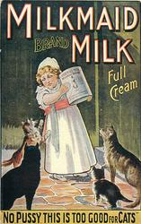 "MILKMAID BRAND MILK, FULL CREAM, ""NO PUSSY THIS IS TOO GOOD FOR CATS"""
