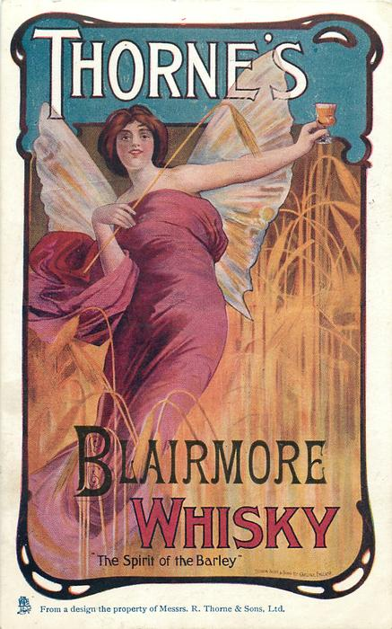 """THORNE'S BLAIRMORE WHISKY or THORNE'S WHISKY """"THE SPIRIT OF THE BARLEY""""  fairy in barley field"""