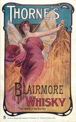 "THORNE'S BLAIRMORE WHISKY or THORNE'S WHISKY ""THE SPIRIT OF THE BARLEY""  fairy in barley field"