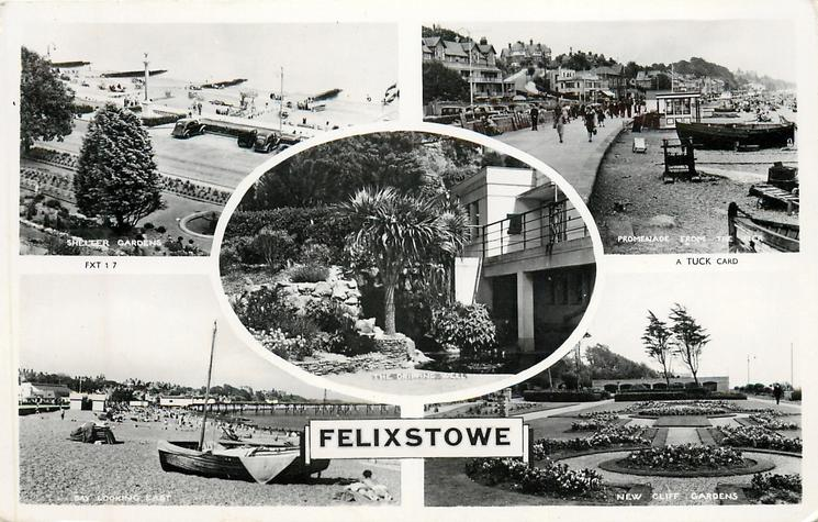 5 insets  SHELTER GARDENS/PROMENADE FROM THE PIER/THE ORIGINAL WELL/BAY LOOKING EAST/NEW CLIFF GARDENS