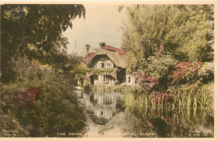 THE SWISS COTTAGE across pond