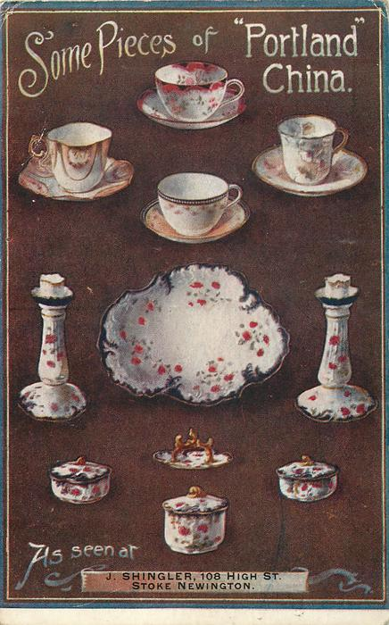 """SOME PIECES OF """"PORTLAND"""" CHINA  brown bachground, AS SEEN AT  space at bottom for insertion of various retailers, teacup at top"""