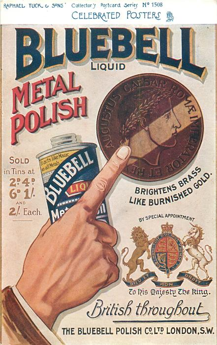 BLUEBELL LIQUID METAL POLISH, BRIGHTENS BRASS LIKE BURNISHED GOLD, BRITISH THROUGHOUT  roman coin