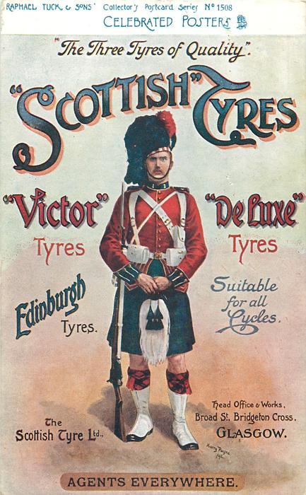 """""""THE THREE TYRES OF QUALITY""""; """"SCOTTISH"""" TYRES, """"VICTOR"""" TYRES, """"DELUXE"""" TYRES  scots guardsman"""