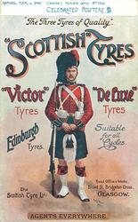 """THE THREE TYRES OF QUALITY""; ""SCOTTISH"" TYRES, ""VICTOR"" TYRES, ""DELUXE"" TYRES  scots guardsman"