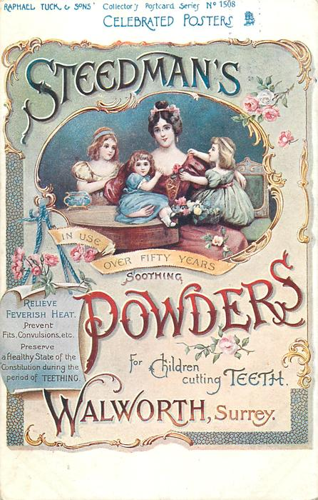 STEEDMAN'S IN USE OVER 50 YEARS SOOTHING POWDERS FOR CHILDREN CUTTING TEETH, WALWORTH, SURREY
