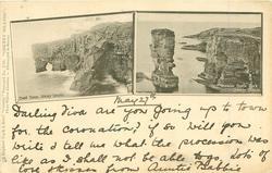 """ORKNEY ISLANDS  2 insets COAST SCENE, ORKNEY ISLANDS//""""YESNABIE CASTLE"""" ROCK, ORKNEY ISLANDS"""