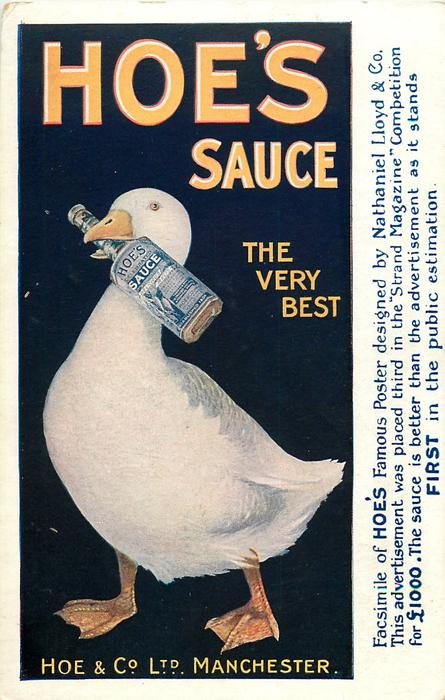 HOE'S SAUCE, THE VERY BEST, HOE & CO., LTD. MANCHESTER  duck with sauce bottle in bill