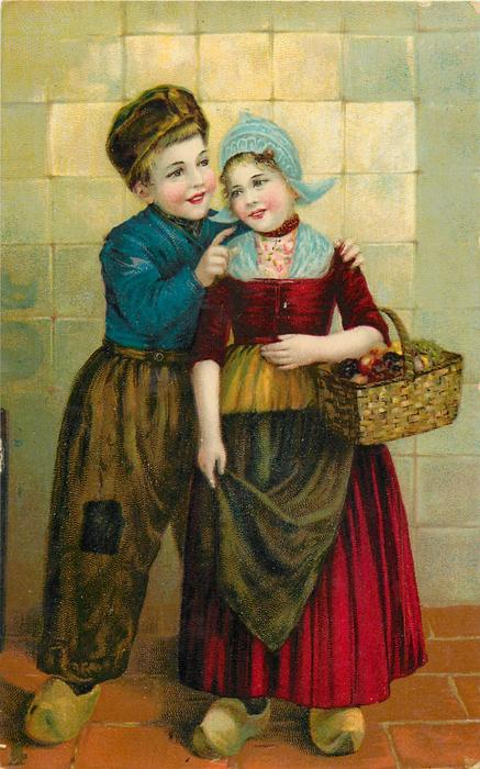 Dutch boy and girl, boy has left arm around girl with basket on  her left arm and points right finger at her cheek, girl holds apron in right hand