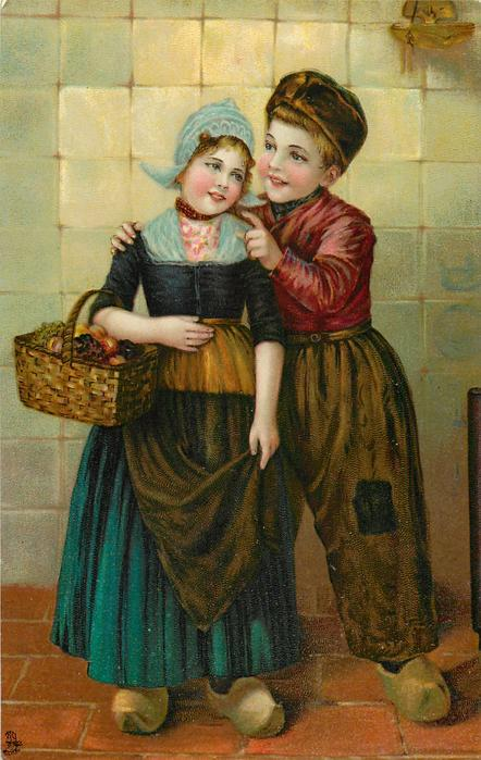 Dutch boy and girl, boy has right arm around girl with basket on right arm, she holds brown apron with left hand, he points at her cheek with left finger