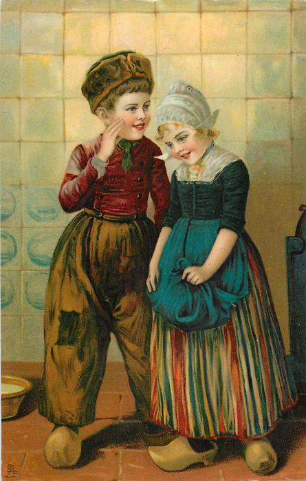 Dutch boy and girl, girl holds blue apron with both hands, boy has right hand by his right cheek