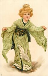 girl in green kimono with both arms outstretched