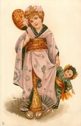 girl in kimono holds mirror with right hand,  very large Japanese doll & dress in her left