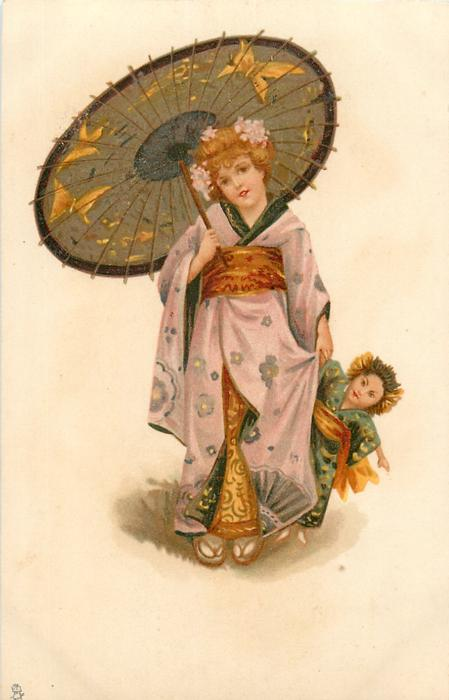 girl in kimono holds parasol with right hand, large Japanese doll & dress in her left