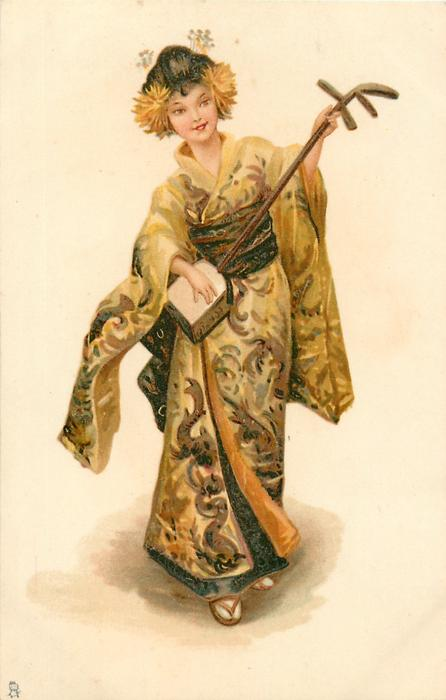 girl in kimono plays oriental stringed instrument