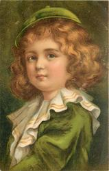 child, dressed in green with small cap with button on top looks ahead, left shoulder in front, frilly collar