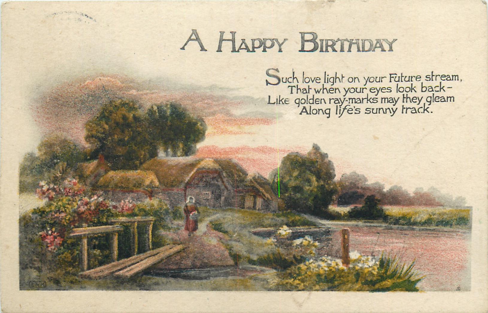 a happy birthday rural landscape tuckdb postcards