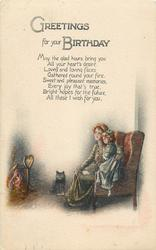GREETINGS FOR YOUR BIRTHDAY  mother & child in chair before fire, black cat