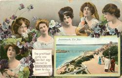 THE PRETTIEST GIRLS ONE CAN BUT SAY ARE MET IN BOURNEMOUTH TO-DAY. inset BOURNEMOUTH, THE PIER