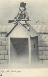 ON THE LOOK OUT  girl in uniform with gun sits on top of sentry box
