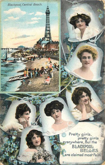 PRETTY GIRLS, PRETTY GIRLS EVERYWHERE, BUT THE BLACKPOOL BELLES ARE CLAIMED MOST FAIR. inset BLACKPOOL CENTRAL BEACH