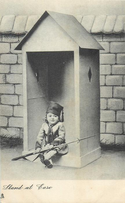 STAND AT EASE  girl in uniform with gun sits in bottom of sentry box