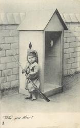 WHO GOES THERE?  girl in uniform stands at side of sentry box, gun held with both hands, pointed at wall