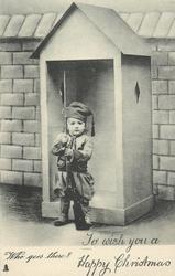 WHO GOES THERE?  girl in uniform stands in front of sentry box, gun held with both hands
