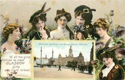 OF ALL THE GIRLS 'TIS NICE TO MEET GLASGOW GIRLS ARE HARD TO BEAT. inset MUNICIPAL BUILDINGS AND GEORGE SQUARE, GLASGOW