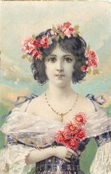 girl in violet dress, holds red flowers, red flowers in hair