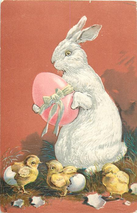rabbit carries pink egg, chicks below