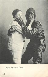 DITTO, BROTHER SMUT!  pierrot & sweep embrace with hands on each others cheeks
