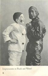 IMPRESSIONS IN BLACK AND WHITE!  pierrot on left has impression of sweep's hand on his cheek