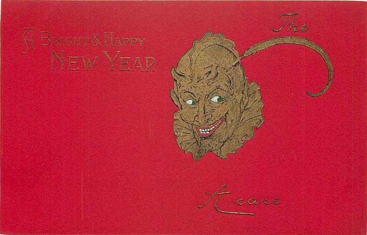 A BRIGHT & HAPPY NEW YEAR  devil to right centre, red background