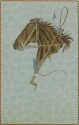 bridled horses head & whip, dappled grey background
