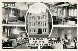 GEORGE AND PILGRIM'S INN, A.D. 1475, GLASTONBURY 5 insets  ABBOT BERE'S ROOM/ABBOT'S PARLOUR/ the inn/THE ABBOT'S KITCHEN/DINING ROOM
