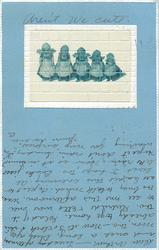 tiled insert showing five Dutch children standing in a line, blue background