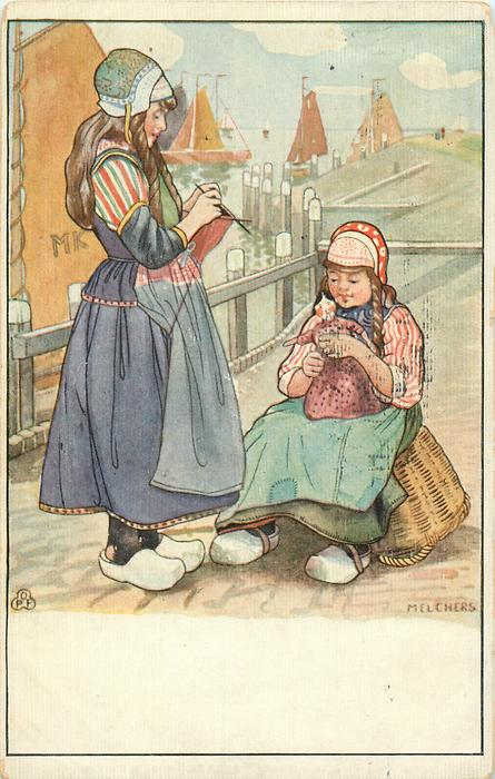 two Dutch women, one left knits, other one rigt sits on a basket with doll on her lap